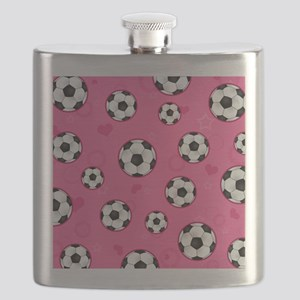 Cute Soccer Ball Print - Pink Flask