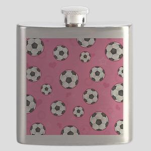 Cute Soccer Ball Print - Pink Flask