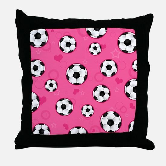 Cute Soccer Ball Print - Pink Throw Pillow