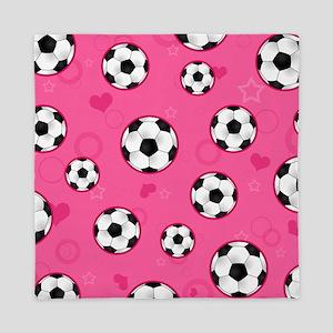 Cute Soccer Ball Print - Pink Queen Duvet