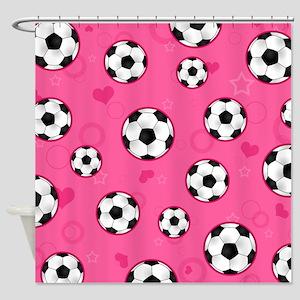 Cute Soccer Ball Print - Pink Shower Curtain