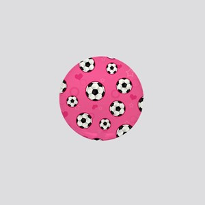 Cute Soccer Ball Print - Pink Mini Button