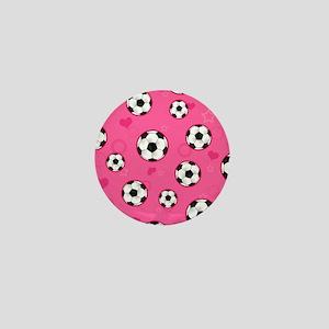 Cute Soccer Ball Print - Pink Mini Button