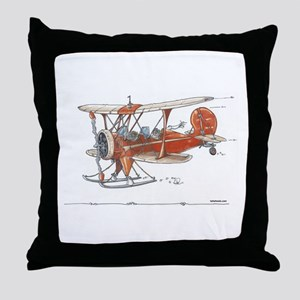 Waco Ski Plane Throw Pillow