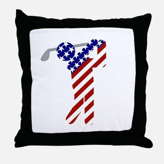USA Mens Golf Throw Pillow