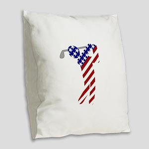 USA Mens Golf Burlap Throw Pillow
