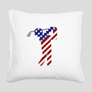 USA Mens Golf Square Canvas Pillow