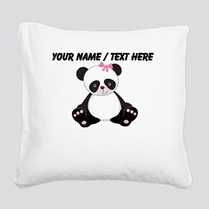 Custom Girl Panda Square Canvas Pillow