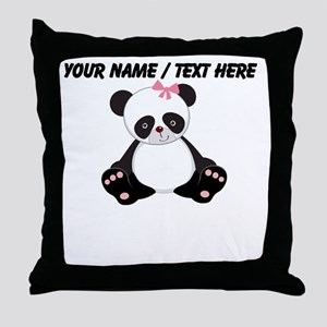 Custom Girl Panda Throw Pillow