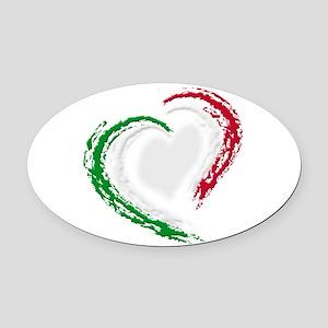 Italian Heart Oval Car Magnet