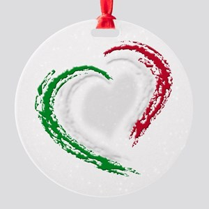 Italian Heart Round Ornament