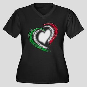Italian Heart Women's Plus Size V-Neck Dark T-Shir