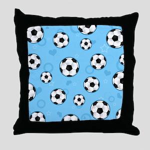 Cute Soccer Ball Print - Blue Throw Pillow