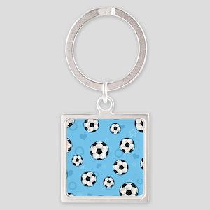 Cute Soccer Ball Print - Blue Keychains