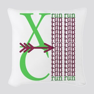 XC Run Light Green Maroon Woven Throw Pillow