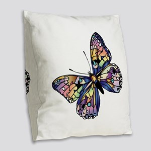 Exotic Butterfly Burlap Throw Pillow