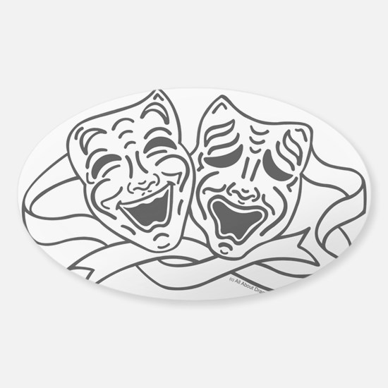 Comedy Tragedy Drama Masks - Black on White Sticke