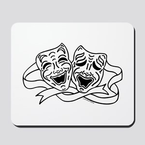Comedy Tragedy Drama Masks - Black on White Mousep