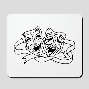 Comedy Tragedy Drama Masks - Black on White Mousep
