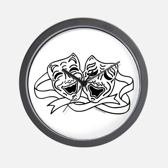 Comedy Tragedy Drama Masks - Black on White Wall C