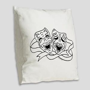 Comedy Tragedy Drama Masks - Black on White Burlap
