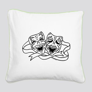 Comedy Tragedy Drama Masks - Black on White Square