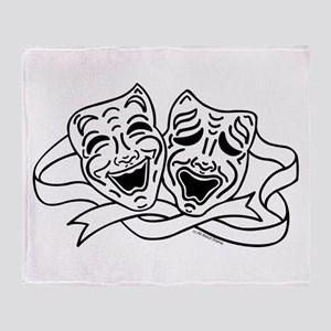 Comedy Tragedy Drama Masks - Black on White Throw