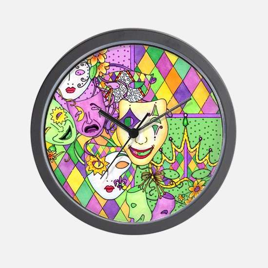 Too Much Fun Mardi Gras Masks Wall Clock