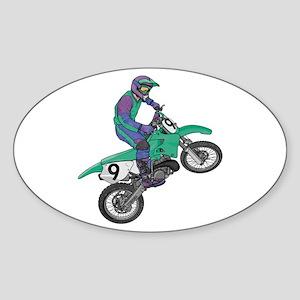 Dirt Bike Popping Wheelie Oval Sticker