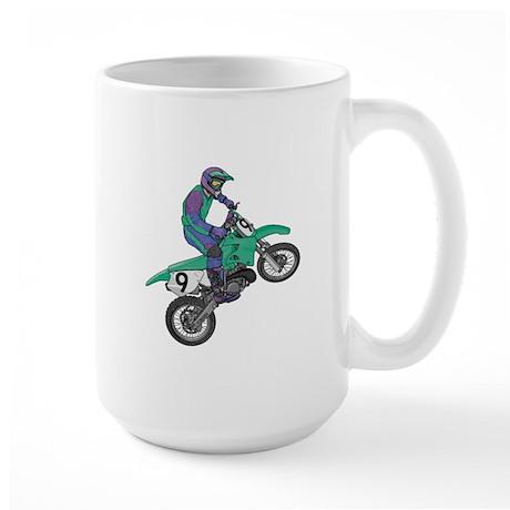 Dirt Bike Popping Wheelie Large Mug