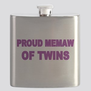 PROUD MEMAW OF TWINS Flask