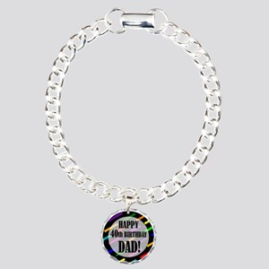 40th Birthday For Dad Charm Bracelet, One Charm