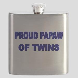 PROUD PAPAW OF TWINS Flask