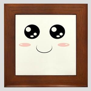 Smiley Kawaii Face Framed Tile