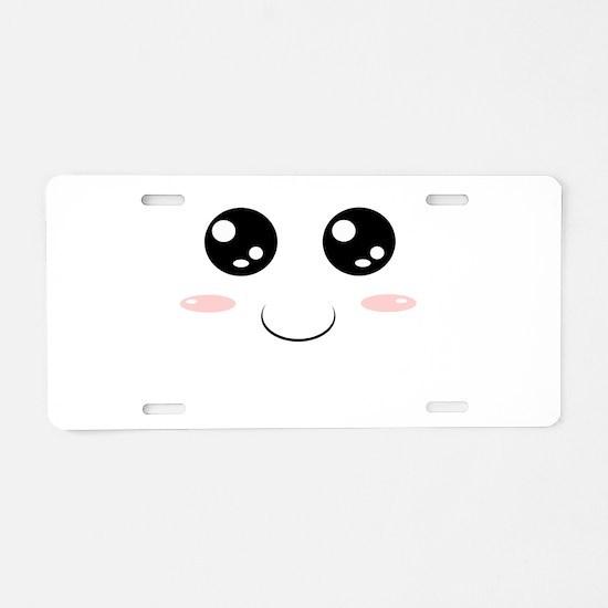 Smiley Kawaii Face Aluminum License Plate