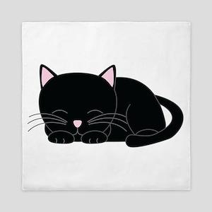 Cute Black Cat Queen Duvet