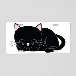Cute Black Cat Aluminum License Plate