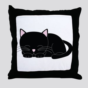 Cute Black Cat Throw Pillow