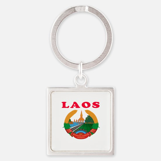 Laos Coat Of Arms Designs Square Keychain