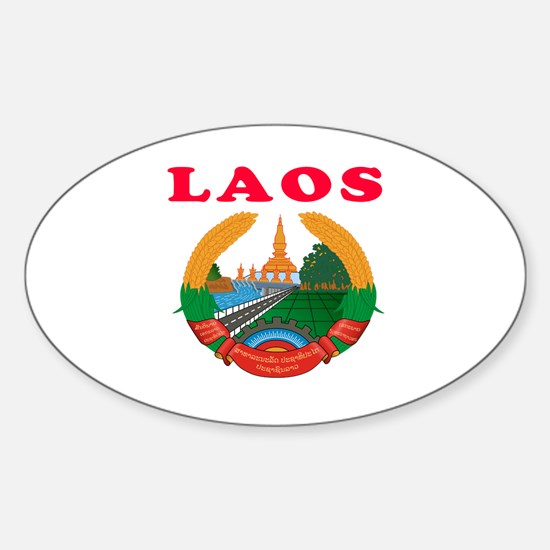Laos Coat Of Arms Designs Sticker (Oval)