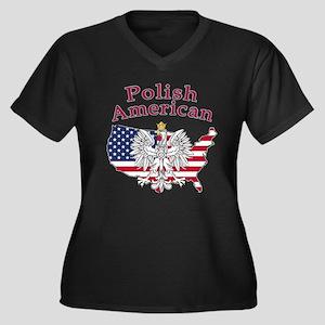 Polish American Map Women's Plus Size V-Neck Dark