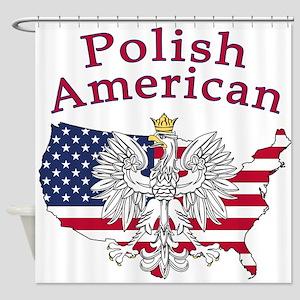 Polish American Map Shower Curtain