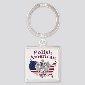 Polish American Map Square Keychain