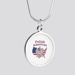 Polish American Map Silver Round Necklace