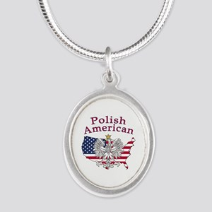 Polish American Map Silver Oval Necklace