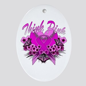 Think Pink Ornament (Oval)