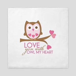 Love you with owl my heart Queen Duvet