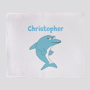 Dolphin Just Add Name Throw Blanket