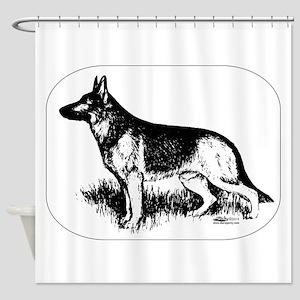 German Shepherd Profile Shower Curtain