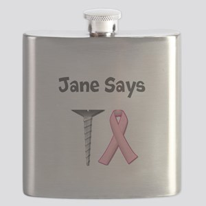Jane Says Screw Cancer! Change to Your Name Flask